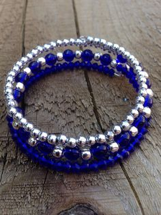 Beaded three strand memory wire bracelet featuring by Fleetbeads