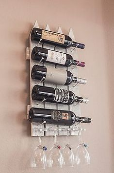 Wood Wall Wine Rack - Handmade Wine Rack for 5 Bottles 4 Glasses