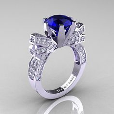 French 14K White Gold 3.0 CT Blue Sapphire Diamond by artmasters, $1849.00