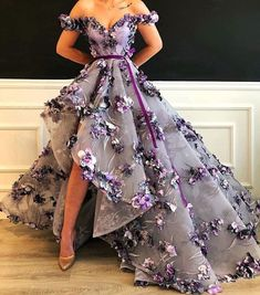 Floral Purple Gown by Dona Matoshi. Shop for beautiful Gowns at Dona Matoshi. Discover a fabulous selection of dresses. Pretty Prom Dresses, High Low Prom Dresses, Long Prom Gowns, Cheap Prom Dresses, Ball Dresses, Cute Dresses, Ball Gowns, Evening Dresses, High Low Gown