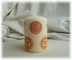 Candle hand decorated with Hearts - Yellow £5.95