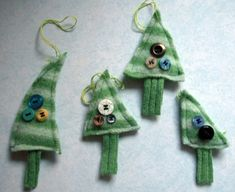 DIY Christmas ornaments. These are made from an old sweater and some extra buttons. Easy and cute!