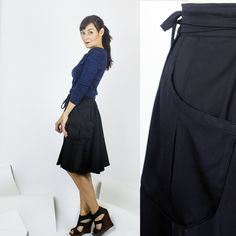 Nashville wrap skirt / Black cotton sateen skirt - office wear / fall winter fashion