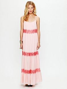 Free People Lace Stripes Maxi Dress