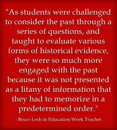 Teaching History By Not Giving 'The Answers' http://blogs.edweek.org/teachers/classroom_qa_with_larry_ferlazzo/2014/06/response_teaching_history_by_not_giving_the_answers.html
