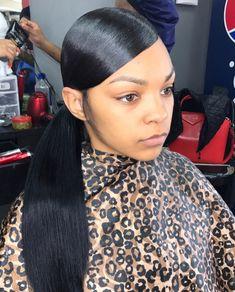Prom hair styles - All For Little Girl Hair Low Weave Ponytail, Slick Ponytail, Elegant Ponytail, Ponytail Styles, Ponytail Hairstyles, Weave Hairstyles, Curly Hair Styles, Natural Hair Styles, Long Ponytails