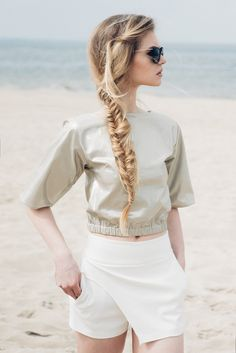 Fanfaronada spring/summer collection 2015  Gold blouse and ivory shorts