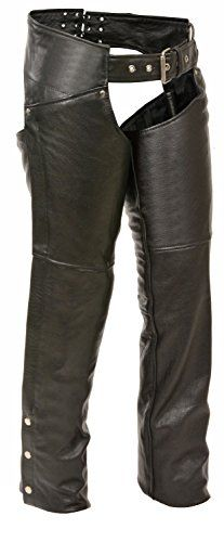Black, Large Milwaukee Performance Mens Textile Chap with Double Zip for Adjustment