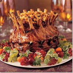 Stuffed Crown Roast of Pork Recipe - Yummy Food Ideas - Easy, delicious and healthy Stuffed Crown Roast of Pork recipe from SparkRecipes. See our top-rated recipes for Stuffed Crown Roast of Pork. Crown Pork Roast Recipes, Crown Roast Recipe, Crown Roast Of Pork, Pork Recipes, Cooking Recipes, Holiday Recipes, Dinner Recipes, Holiday Treats, Kebab