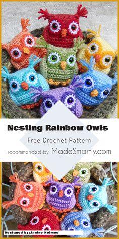 Nesting Rainbow Owls - Free Crochet Pattern #crochetowls #owl #craftsforkids #crochet #amigurumi