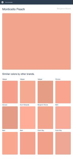 Monticello Peach, Benjamin Moore. Click the image to see similiar colors by other brands.