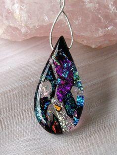 fused dichroic glass teardrop filagree blue by ChrysalisDreams, $58.00