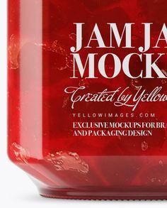 900ml Cherry Jam Glass Jar w/ Clamp Lid Mockup - Side View