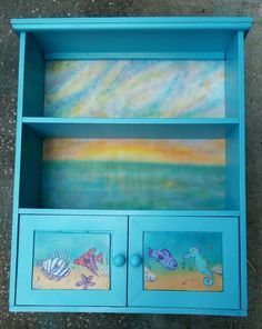 Mark Heller's Painted Boxes and Birdhouses Shelf was found in trash painted Krylon Light Blue back and door panels were airbrushed and clearcoated, fish were painted in Craft Acrylic. Painted Boxes, Hand Painted, Door Panels, Blue Back, Birdhouses, Wood Boxes, Shelf, Light Blue, Fish