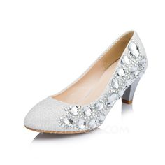 Wedding Shoes - $49.99 - Women's Sparkling Glitter Cone Heel Closed Toe Pumps With Rhinestone (047050452) http://jjshouse.com/Women-S-Sparkling-Glitter-Cone-Heel-Closed-Toe-Pumps-With-Rhinestone-047050452-g50452