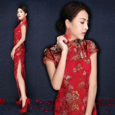 Cheap dress shirt slim fit, Buy Quality dress skull directly from China dress up games prom dresses Suppliers: chinese traditional dress long cheongsam chinese wedding dress cheongsam qipao wedding dress long tail gown red women me Wedding Dresses With Straps, Long Wedding Dresses, Dress Wedding, Prom Dresses, Wedding Lace, Cheap Dress Shirts, Cheongsam Wedding, Traditional Wedding Dresses, Lace Weddings