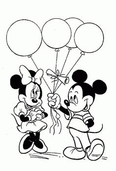 Mickey Mouse And Minnie Holding Balloons