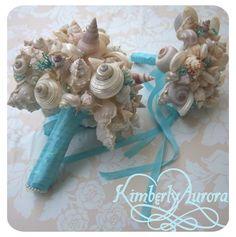wedding bouquets made of seashells   Wondrous Weddings and DIY