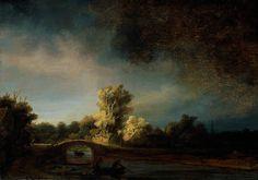 Rembrandt van Rijn (Pays-B. 1606-1669), Paysage avec un pont de pierre, vers 1638, huile sur panneau de chêne, 29,5 x 42,5cm, Amsterdam, Rijksmuseum