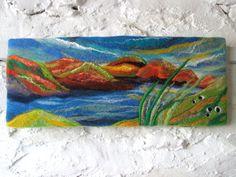textile art, felt art lake landscape, Y Llyn, 20 x 8 inches