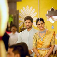 Image may contain: 2 people, people standing and wedding Bollywood Fashion, Bollywood Actress, Allu Arjun Hairstyle, Sneha Reddy, Allu Arjun Images, Indian Gowns Dresses, Saree Models, Actors Images, Indian Wedding Photography