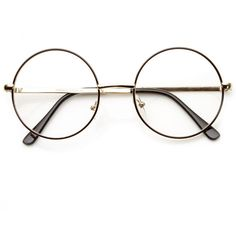 Vintage Lennon Inspired Clear Lens Round Frame Glasses 9222 (2.880 HUF) ❤ liked on Polyvore featuring accessories, eyewear, eyeglasses, vintage eyeglasses, clear eye glasses, clear lens glasses, circle eyeglasses and circle lens glasses