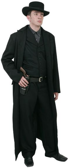 CT022 Tombstone Frock Coat  This is our 'Long Coat' based on the Frockcoat worn by Kurt Russell towards the end of the film 'Tombstone'. It is made from a medium weight black wool with a black polished cotton lining and two exterior pockets with flaps. It has three cloth covered buttons on the front and two more on a belt at the back. The coat is cut 'Long' to finish mid-calf, it is generally worn open and we cut it accordingly.