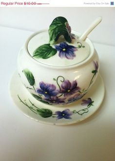 ON SALE Lefton China Sweet Violets Vintage Sugar by MamaReesHouse, $8.00