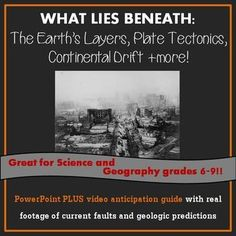 Teach Earth's layers, plate tectonics, continental drift, and more. Great for earth science and geography classes! Lot's of good stuff here! PowerPoint, follow-along worksheet and video guide!