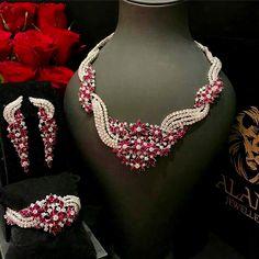 Aland Jewelers Ruby and Diamond Demi-Parure