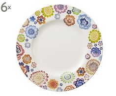 Set di 6 piatti piani in porcellana Anmut Blossom - d 27 cm