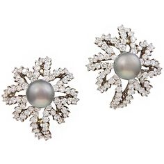 """TIFFANY & CO. Diamond & Tahitian Pearl """"Fireworks"""" Earclips 