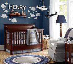 I like the blue wall and clouds. Flying Friends Nursery Bedding | Pottery Barn Kids