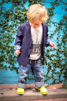 My stylin little man... Appaman suit jacket, Gap jeans, Native shoes