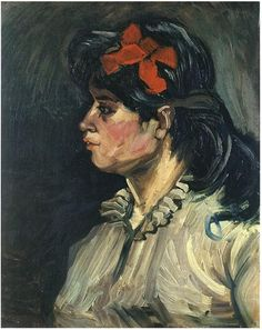 Vincent van Gogh Painting, Oil on Canvas Antwerp: December, 1885 Collection Alfred Wyler New York, New York, United States of America, North America  Portrait of a Woman with Red Ribbon .Van Gogh Gallery