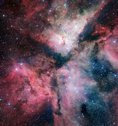 The Carina Nebula, even from more than 7,000 light years away, i's bright enough to see with the unaided eye. This stunning image is from the VLT Survey Telescope and shows very nearly the entire cloud, a span of about 100 light years. ESO. Acknowledgement: VPHAS+ Consortium/Cambridge Astronomical Survey Unit.