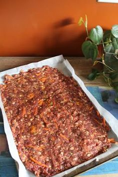 Healthy Wheat Free dog treats: 1lb ground meat (venison maybe) 1/2 apple 1/2 c shredded carrots 1 egg 1/2 c oats 1/2 lg sweet potato, steamed, pealed and mashed