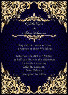 Elegant royal blue and gold wedding invitation save the date rsvp elegant royal blue and gold wedding invitation save the date stopboris Choice Image