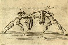 Rapier and cloak duelling. From Francesco Alfieri's L'Arte di Ben Maneggiare la Spada, 1653. #fencing #esgrima #rapier #ropera #cloak #duel