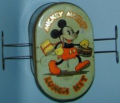 """A Moveable Feast: The History of Early and Collectible American Lunchboxes - A mickey Mouse """"lunch kit"""" from the 1930s."""