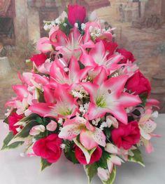 Memorial Day Flower Arrangements for Grave | ARTIFICIAL SILK FLOWER FRONT FACING ARRANGEMENT POSY FOR GRAVE POT ...