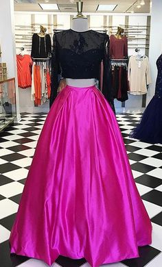 Elegant Two Piece A-Line Fuchsia Prom Dress - Crew Long Sleeves Floor-Length Lace Top Beading