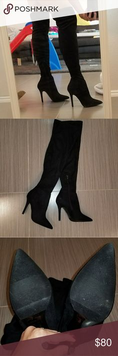 Also Over the Knee Boots Black suede over the knee boots from Also. Worn just twice, very briefly.  In perfect condition. I have slim legs and these stay up great - they didn't fall down at all, and were very comfortable to walk in. Unfortunately I just don't get the wear out of them in FL. I no longer have the box, but will ensure they are packaged with care.  Open to reasonable offers, but no trades. Aldo Shoes Over the Knee Boots