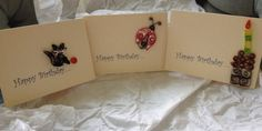 3 Quilling Happy Birthday Cards by jgaCreations on Etsy, $6.00