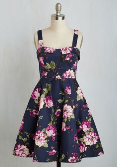 Pull Up a Cherry Dress in Navy Bouquet.