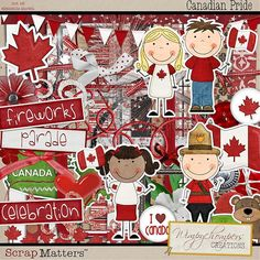 Canadian Pride by Whimpychompers I Am Canadian, Blog Design, Design Ideas, Color Palate, Canada Day, Fireworks, Graphic Art, Pride, Scrapbooking Kit