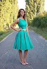 Šaty - Šaty s kruhovou sukňou s čipkou na chrbte - 5814538_
