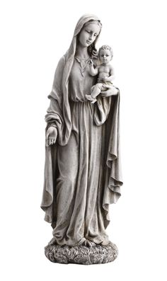 "Madonna Our Lady of Grace Holding Child Jesus Garden Statue. This statue is very traditional and peaceful looking garden or patio figure. Made of resin. Measures at 23"" tall."