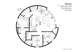 Monolithic Dome home floor plans with square footage ranging from to sf. Monolithic Dome Homes, Geodesic Dome Homes, Round House Plans, House Floor Plans, Yurt Home, Circle House, Earth Bag Homes, Silo House, Unique Floor Plans