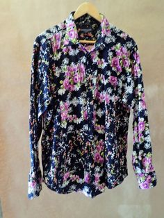 Womens GUESS Black Button Up Dress Shirt Casual Floral Purple Size XL  #GUESS